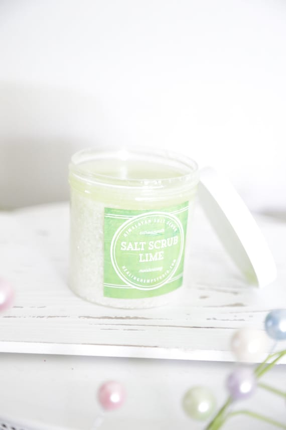Lime & Coconut Sea Salt Scrub | Tropical Body Scrub | Exfoliator | Hand Scrub | Dry Skin |  | Grape seed oil| Hemp Scrub