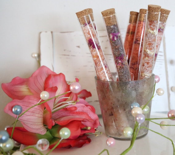 LARGE Bath Salt in tubes, Dead Sea Salt, Himalayan Salt, Epson Salt, essential oils and dried flowers, mom gift, Shower Gift, Bridal gift