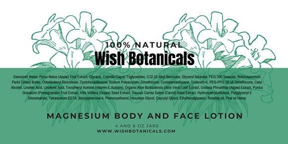 Organic Magnesium Body Butter w Whipped Raw Shea, Essential Oils | Vegan, Non GMO & Paraben Free, Any scent 8 oz