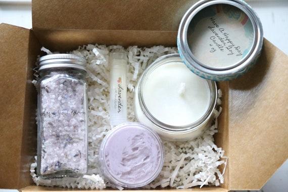Lavender MOTHERS DAY gift set, Lavender lip balm, Lavender body butter, Lavender soy candle, Lavender salt shake and large fizz bath bomb