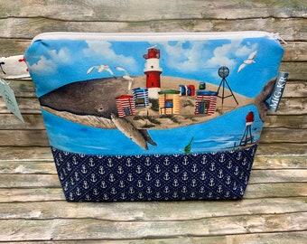 "Maritime zipper bag ""Borkumer Wal"", funny zipper bag, Borkum"