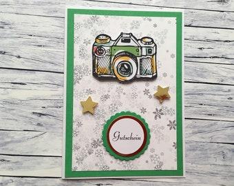 "Christmas voucher ""Fotoshooting"", voucher, photo shoot, voucher for a photo shoot, voucher for a camera,"