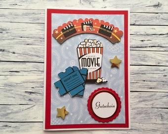 """Christmas voucher """"Cinema"""", voucher, cinema, cinema voucher, voucher for cinema, cinema visit, card,"""