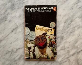 The Moon and Sixpence by W. Somerset Maugham - vintage Penguin Books paperback (1984) - British lit - Harri Peccinotti - Derek Birdsall