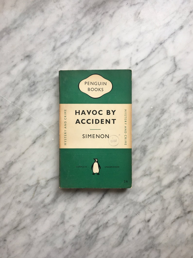 Havoc by Accident by Georges Simenon - vintage green Penguin Books crime  paperback 829 (1952) - 2 mysteries: Talatala & The Breton Sisters