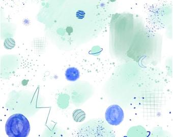 0.5 m Lillestoff - Organic Jersey - Lillespace - Lillemo - white/coloured