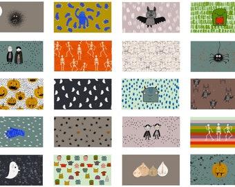 1.0 m Lillefabric - Organic Cotton Fabric - Halloween Masks - Lillemo - White/Colorful - Weaving