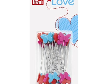 Prym Love - Pins 0.60 x 50 mm - 50 needles with butterflies and hearts in a plastic box