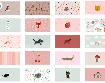 1.0 m Lillefabric - Organic Cotton Fabric - Winter Masks 2- Lillemo - White/Colorful - Weaving - Pink/Red