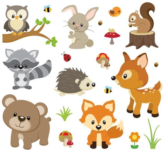 Wandsticker Waldtiere Kinderzimmer Wandtattoo Deko Tiere Etsy