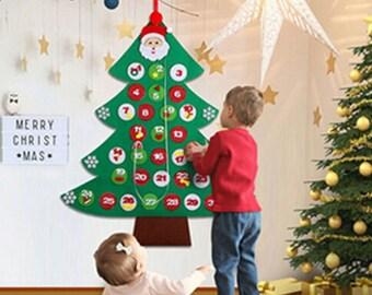 kids child felt christmas tree advent calendar countdown to christmas ornament diy toddler babyfree personalization
