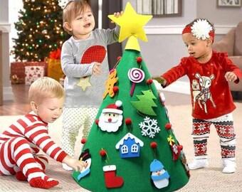 kids child felt christmas tree ornament 3d diy toddler baby