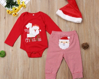 baby boys girls my first christmas outfit