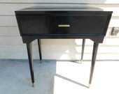 Mid Century Modern Singer 600E Touch Sew Sewing Machine with Orig Black Gold Table Cabinet