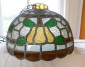 1950s Slag Glass Chandelier Hanging Fruit Lamp Pears Grapes Multi-Color Light