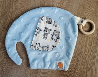 Blankie elephant made from minky including wooden teething ring