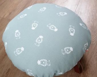 Handmade around canvas floor cushion, floor cushion with leather band, round pillow, canvas pillow, floor cushion