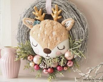 Door wreath deer 45 cm