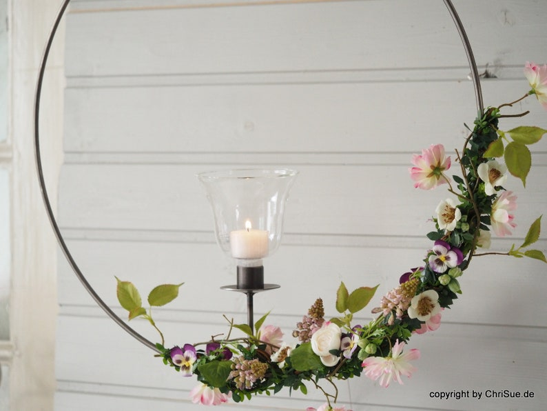 Window decoration wreath spring Ring+Glas+Deko