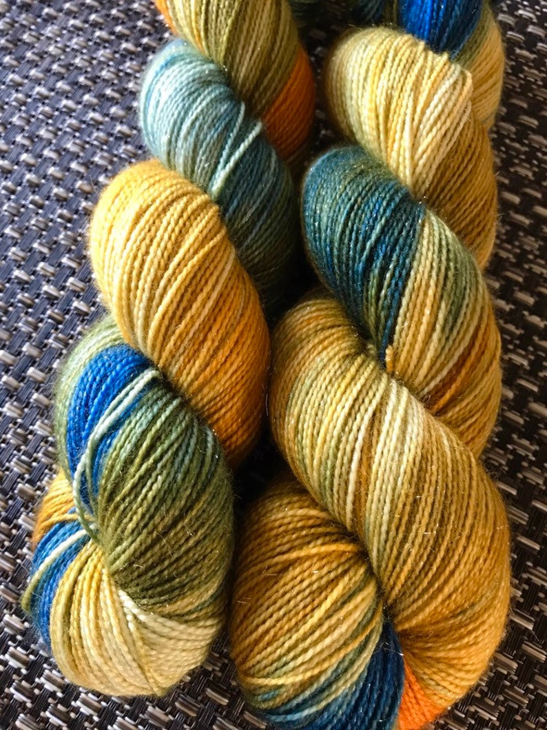 Sock wool with glitter fanny hand-dyed