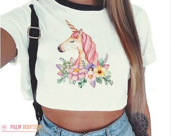 7306791d3ad8 Pink Unicorn / Crop top - O neck - T-Shirt - Clothes - Sexy - Fashion /  SALES!