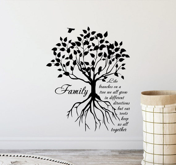Family Like Branches On A Tree Wall Decal Sign Inspirational Quote Gift  Poster Vinyl Sticker Bedroom Family Decor Home Wall Art Print x394