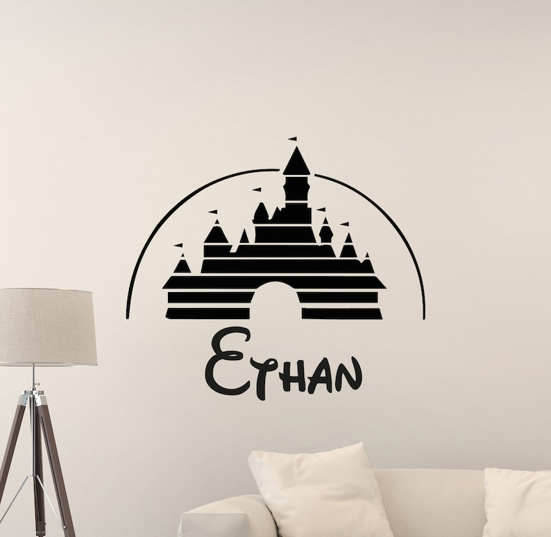 personalized disney wall decal custom name castle sign gift etsy