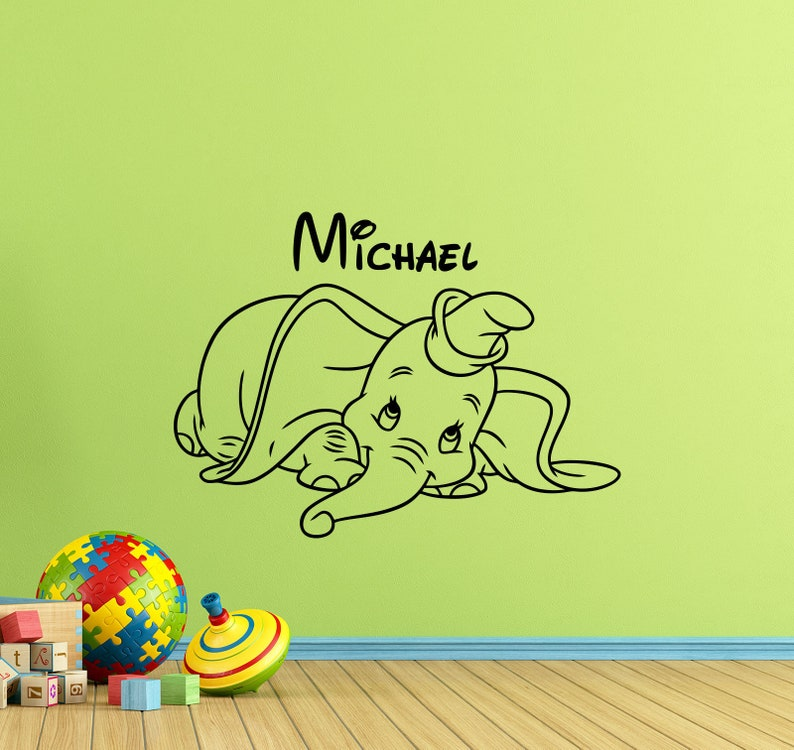 personalized dumbo wall decal walt disney poster custom name etsy