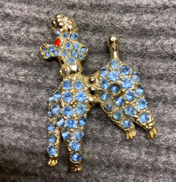 Vintage Fifties Blue Rhinestone Poodle Dog Pin Bro