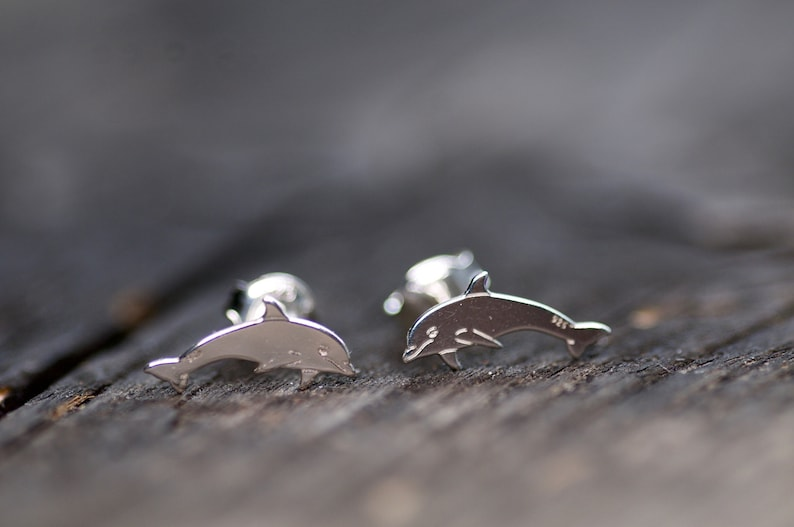 Animal Earrings Dolphin Studs Tiny Dolphin Earrings for Girl Sterling Silver Cute Dolphin Studs Earrings Animal Lover Earrings For Her