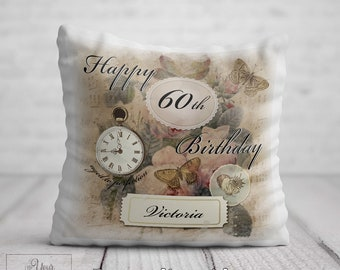 60th BIRTHDAY Cushion For Her Birthday Gift Women Personalised 60 Pillow Mum Aunt Auntie Nan Nana Gran Friend Present