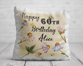 60th BIRTHDAY Cushion For Her Birthday Gift Women Personalised 60 Flower Pillow Mum Auntie Nan Sister Friend Present
