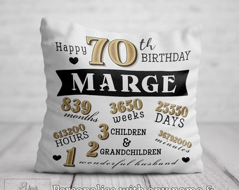 70th BIRTHDAY Cushion For Her Birthday Gift Women Personalised 70 Pillow Mum Aunt Auntie Nan Nana Gran Friend Present