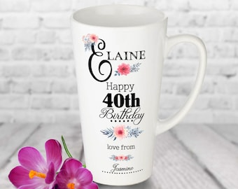 40th BIRTHDAY LATTE MUG For Her Personalised Birthday Gift Women 40 Large Latte Cup 1979 Present Auntie Mum Sister Friend