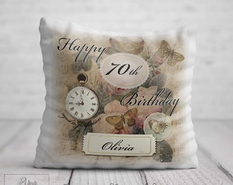 70th BIRTHDAY Cushion For Her Birthday Gift Women Personalised 70 Pillow Mum Aunt Auntie Nan Nana Gran Friend Present