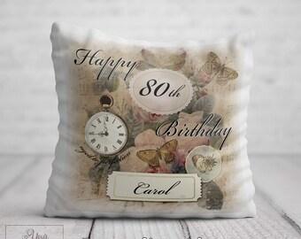 80th BIRTHDAY Cushion For Her Birthday Gift Women Personalised 80 Pillow Mum Aunt Auntie Nan Nana Gran Friend Present