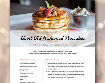 recipe book template etsy