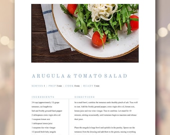 Recipe Book Template Simple Clean Family Cookbook, Editable Recipe Binder, Customizable Modern Classic Rustic Farmhouse, 5 Page Template