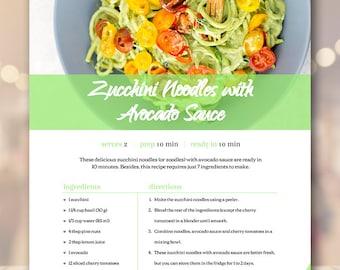 cookbook template etsy