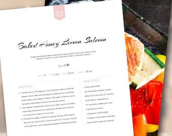 Cookbook Template | Cookbook Template Etsy