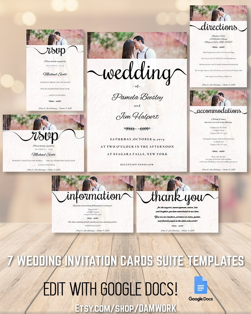 Wedding Invitation Cards Template Set Suite Package, 5x7 3 5x5 5x3 5 inch  sizes, Editable Printable Customizable, Rustic Traditional Elegant