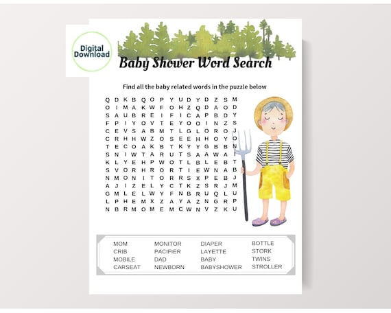 image regarding Word Game Printable called Term glance, Region shower online games, Youngster phrase match, Printable term video game, Very simple shower video game, Farm boy or girl shower, Place little one shower