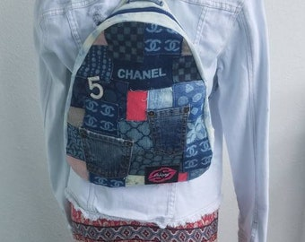 37a21aa8bef8 Denim and corduroy Chanel inspired tie dye small backpack pink CC Chanel  kiss patch - One of a Kind bag - 5 brooch included.