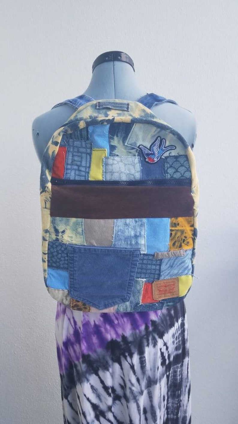 229b4cf38dfe Denim and corduroy backpack with patches boho one of a kind | Etsy