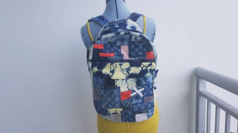 d36ba6b0fbcf Denim and corduroy backpack with tie dye and custom dye Louis | Etsy