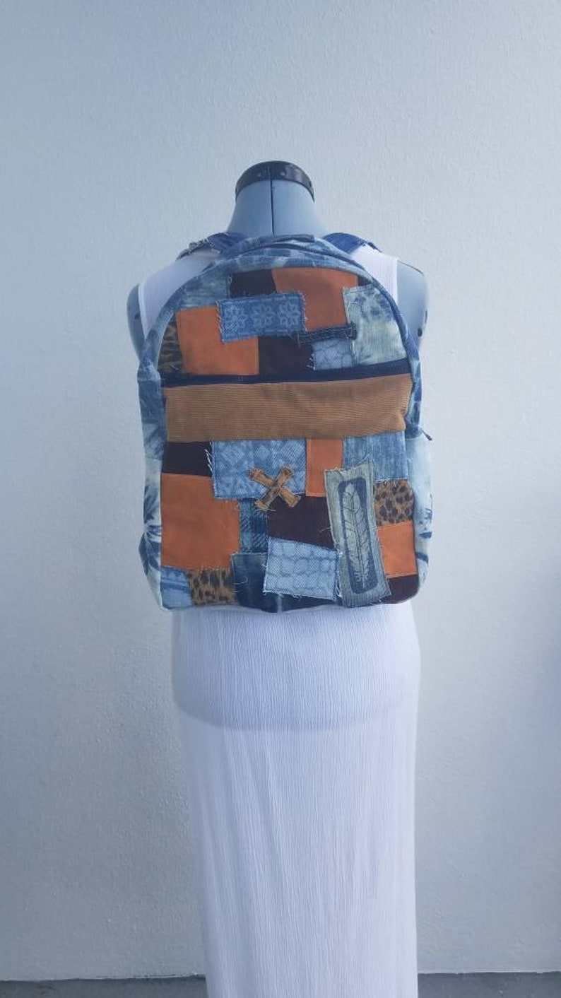 4264c9540ebb Denim faux seude & corduroy backpack leopard denim tie dye | Etsy