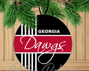 georgia dawgs black and red game day college football spirit sports fan wear celebration 3 ornament college ornament customized - Christmas Day College Football