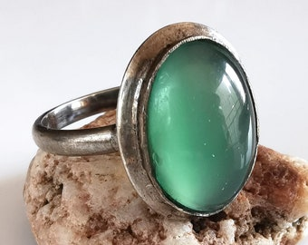 Silver ring with stone, natural stone, green stone, old ring, vintage ring, women ring, vintage jewelry, stone ring, stone jewelry