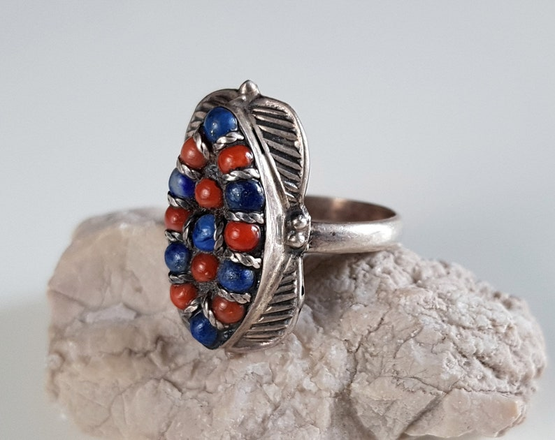 natural stone ring tibetan ring sterling silver ring womens ring Nepalese ring ethnic jewelry stone jewelry vintage ring