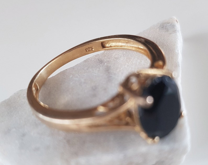 elegant ring Gold plated ring vintage jewelry art deco ring vintage ring for women black onyx ring dainty ring black stone ring